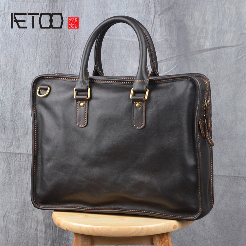 AETOO Retro First Layer Leather Handbag Male Handmade Leather Business Briefcase Crazy Horse Leather Casual Laptop Bag