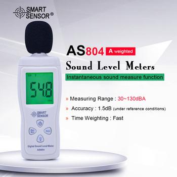 Inteligentny czujnik AS804 cyfrowy miernik poziomu dźwięku 30-130dB hałasu dB miernik decybeli Tester Tester hałasu Metro narzędzie diagnostyczne tanie i dobre opinie SMART SENSOR 30 ~ 130dB Digital sound level meter 30~130dB 0 1dB 1 5dB (under reference conditions) 31 5Hz~8 5KHz