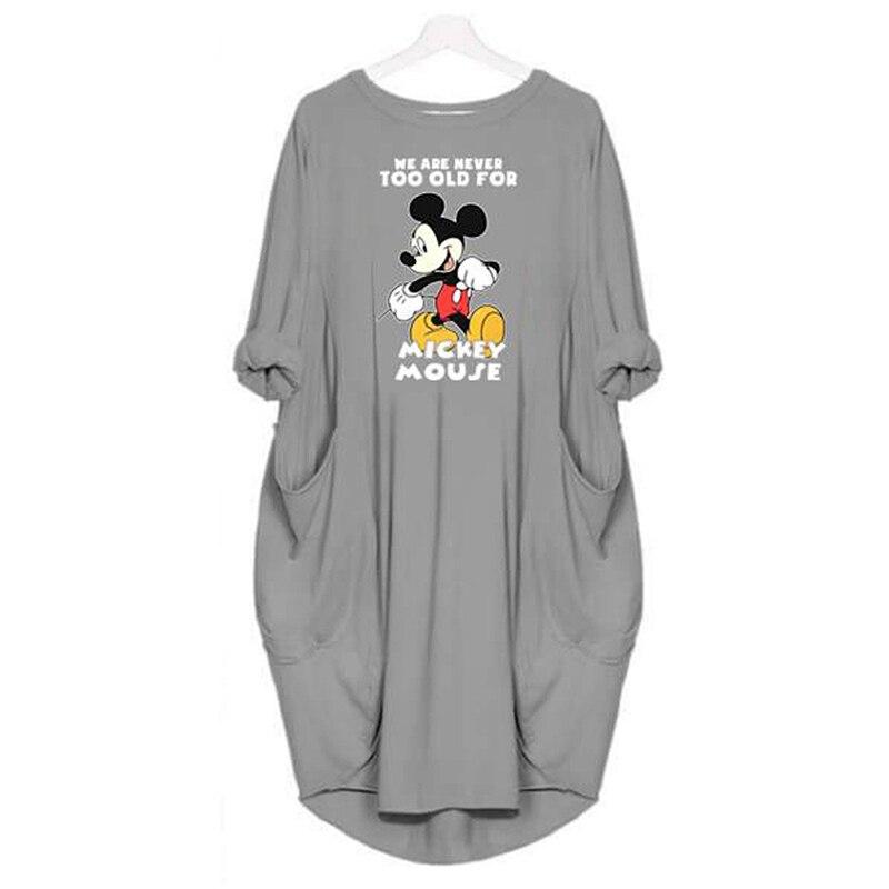 Korean Fashion Mickey Mouse Maternity Dresses Cartoon Printing Round Neck Vestido Summer Autumn Long Sleeve Pregnancy Dress
