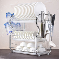 3 Layers Kitchen Shelves Dish Rack Tableware Washing Dishes Kitchen  Storage Cupboard Drain Bowl Knives Holder Racks