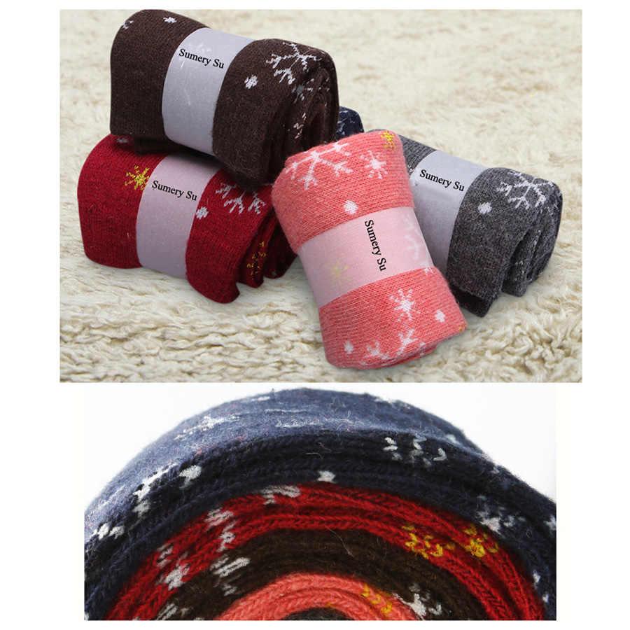 5 ペア/ロットウールの靴下女性の冬の雪花柄カシミア暖かい靴下レディースガールズクリスマスギフト