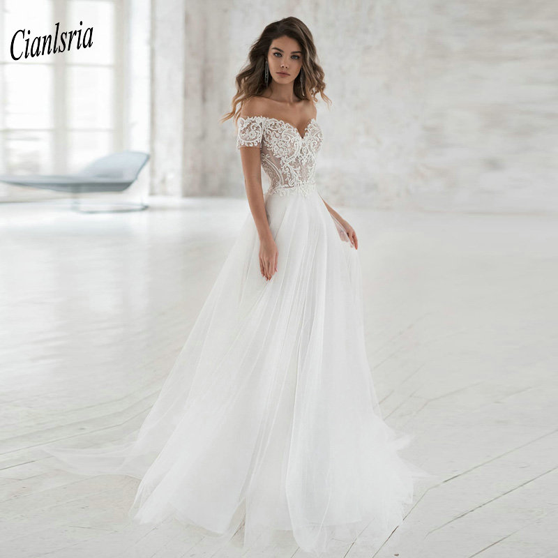 Elegant Off The Shoulder Illusion Top Bohemian Wedding Dress Short Sleeves Appliques Lace Long Bridal Wedding Dresses