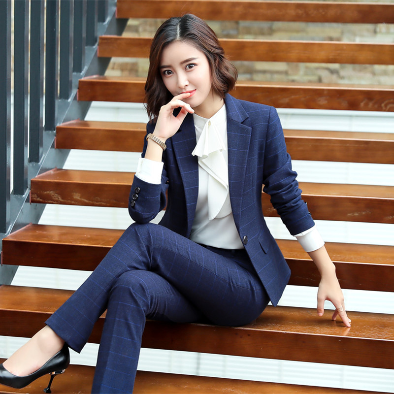 Female Elegant Women's Blue Plaid Pants Suit Trouser Dress Blazer Costumes Jacket Suits Ladies Office Wear Blouse 2 Pieces Set