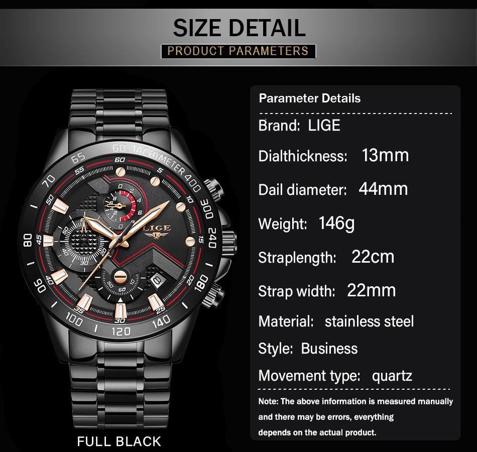 Hc9aff7b5b60445daa540a3dabbb150065 2020 LIGE Fashion Mens Watches Stainless Steel Top Brand Luxury Sport Chronograph Quartz Watch Men Black Watch Relogio Masculino