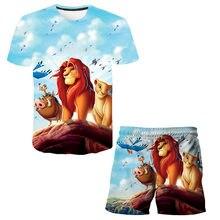 2 PCS/set 20213D print design baby cartoon design T-shirt children T-shirt + shorts summer short sleeved pants boys and girls cl