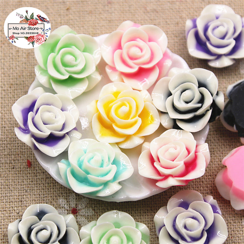 20pcs 20mm Mixed Color Flower Rose Resin Flatback Cabochon DIY Jewelry Phone Decoration No Hole