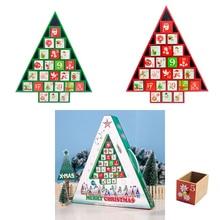 Деревянный Рождественский календарь с обратным отсчетом, коробка, Расписанная елкой лося, Подарочный органайзер для конфет, домашние фестивальные декорации, украшение для дома