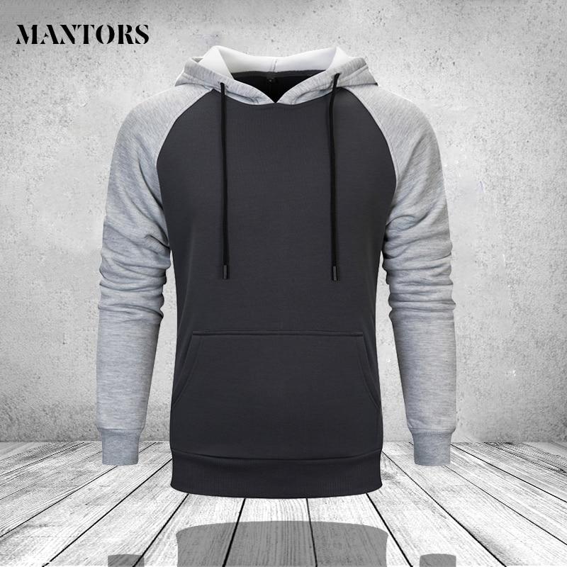 Men's Hoodies Contrast Raglan Long Sleeve Hooded Sweatshirt Male Pullover Blend Fleece Hoodie Kanga Pocket Oversize Sportswear