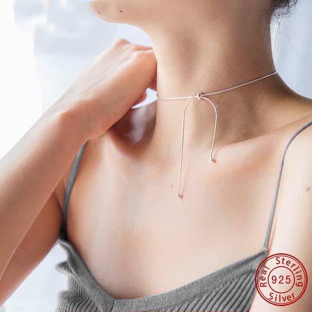 Real S925 Sterling Silver Snake Chain Pendant Neckalce Choker Round Beads Adjustable Fine Jewelry kolye For Women bijoux femme