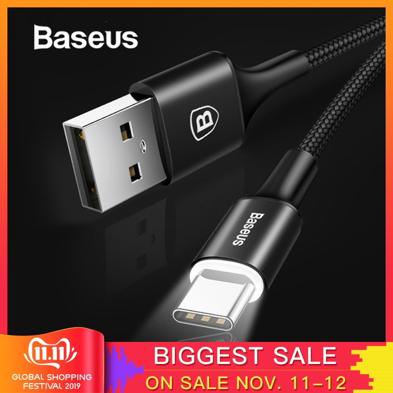 Baseus USB Type C Cable for xiaomi redmi k20 pro USB C Mobile Phone Charger Cable for oneplus 7 pro Type C Cable-in Mobile Phone Cables from Cellphones & Telecommunications