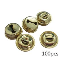 100Pcs Small Golden Round Jingle Bells for Christmas Party Festival DIY Decor High Quality
