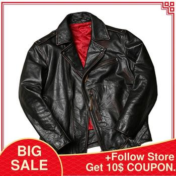 2020 Retro American Style Bikers Leather Jacket Large Size 6XL Genuine Thick Cowhide Winter Slim Fit Motorcycle Coat