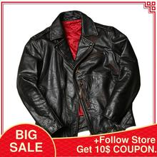 2020 Retro American Style Biker's Leather Jacket Large Size 6XL Genuine Thick Co