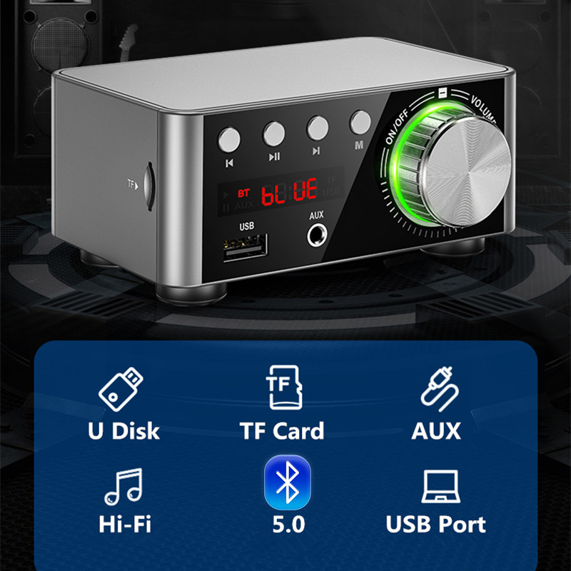 Bluetooth 5.0 HIFI Digital Power Audio Amplifier Board TPA3116 50WX2 Stereo Car AMP Amplificador Home Theater USB TF Card Player