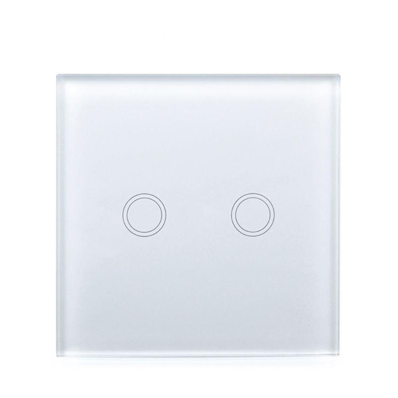 Touch Switch EU/UK Standard White Crystal Glass Wall Panel Smart WiFi LED Light