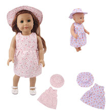 Cute doll clothes small flower dress + hat suitable for 18 inch American doll 43cm baby doll accessories, generation, gift(China)