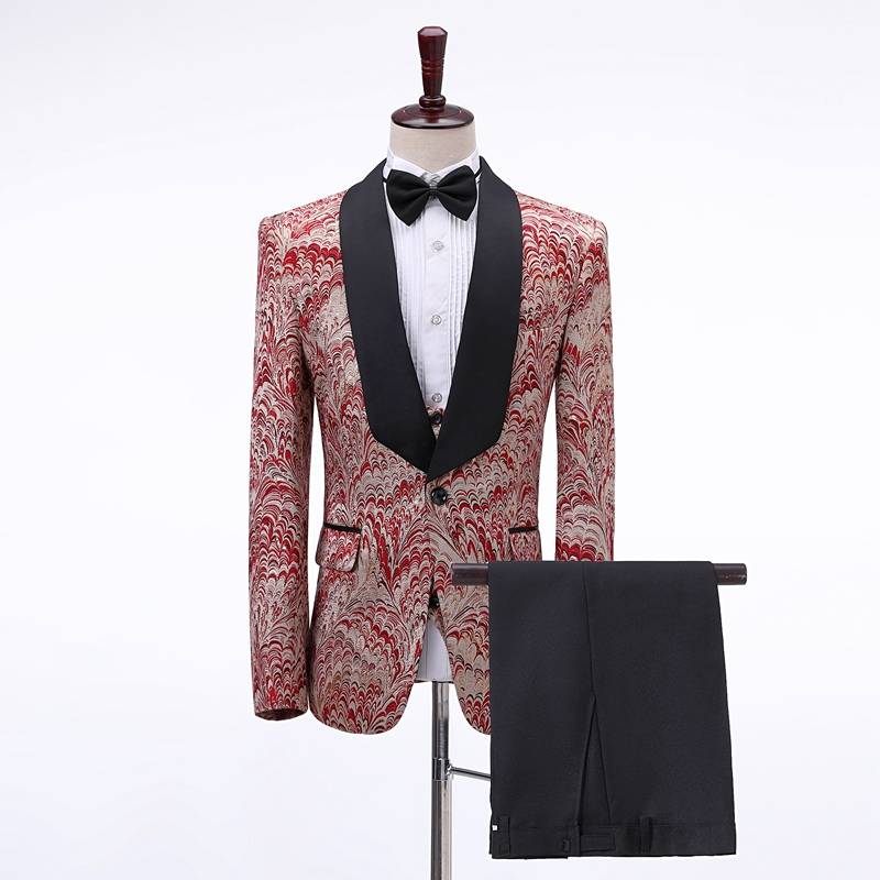 Retro Wine Red Slim Printed Wedding Men's Ball Suit Blazer Set New Year Evening Gowns Singer Show Gala Dress Jacket Send Bow Tie