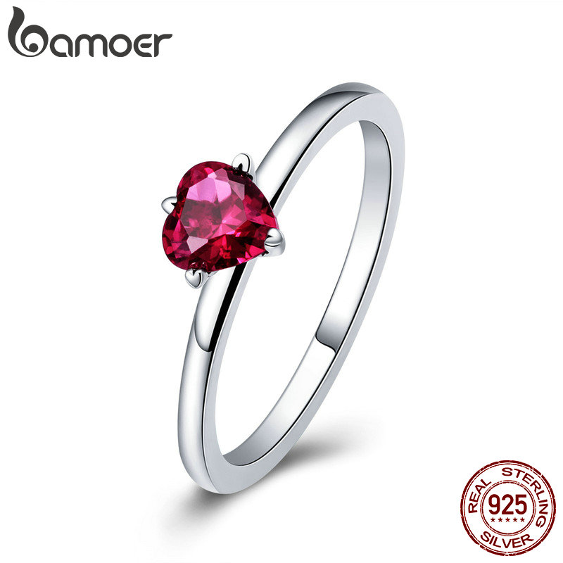 BAMOER 925 Sterling Silver Red Heart Pave Crystal CZ Finger Rings For Women Fashion Wedding Valentine's Day GIFT Jewelry SCR389