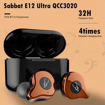 Sabbat-auriculares TWS E12 Ultra QCC3020, inalámbricos por Bluetooth 5,0, auriculares estéreo Hifi, Auriculares deportivos a prueba de agua