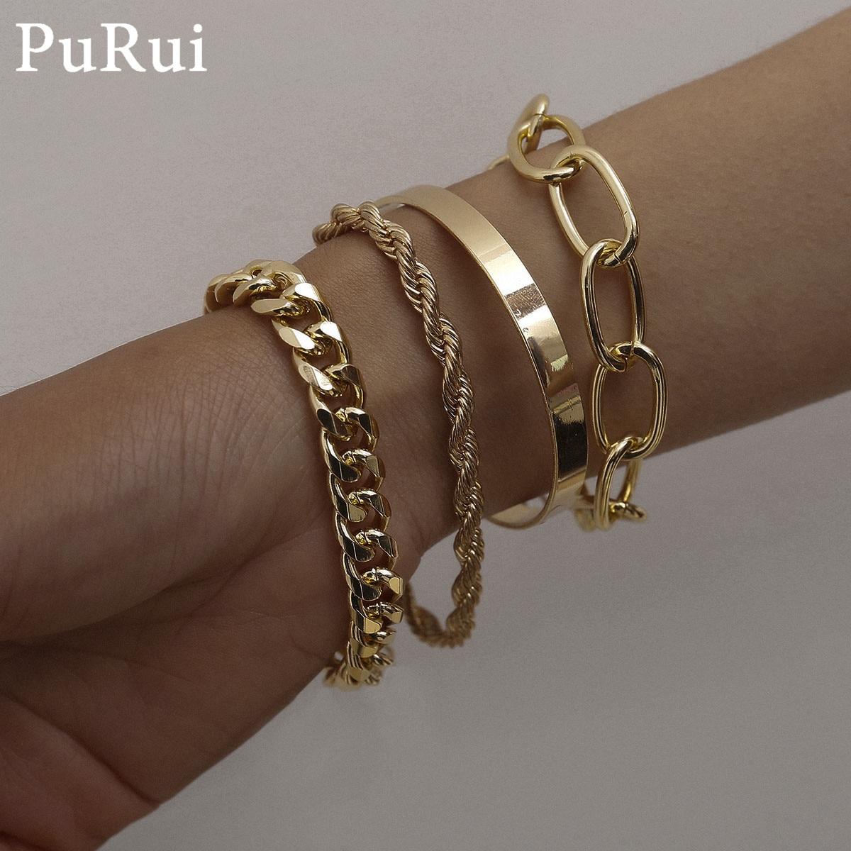 PuRui 4pcs Punk Curb Cuban Chain Bracelets Set for Women Miami Boho Thick Gold Color Charm Bracelets Bangles Fashion Jewelry
