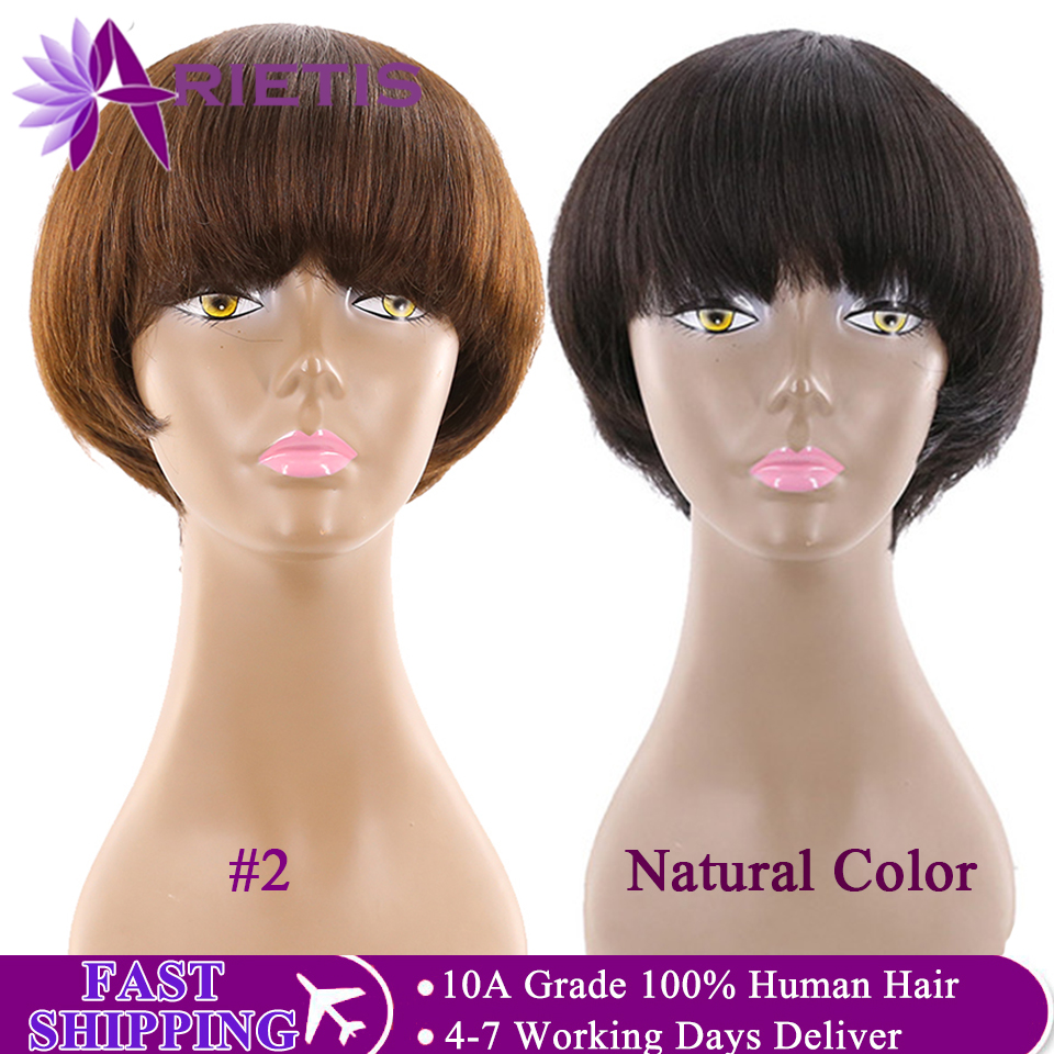 Short Human Hair Wigs With Bangs #2 And Natural Black Brazilian Straight Bob Wigs For Black Women Remy 2020 Top Fashion Hair