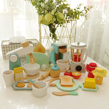 Toy-Mixer Toasters Pretend-Play-Sets Wooden Kitchen Children's Bread-Maker Coffee-Machine
