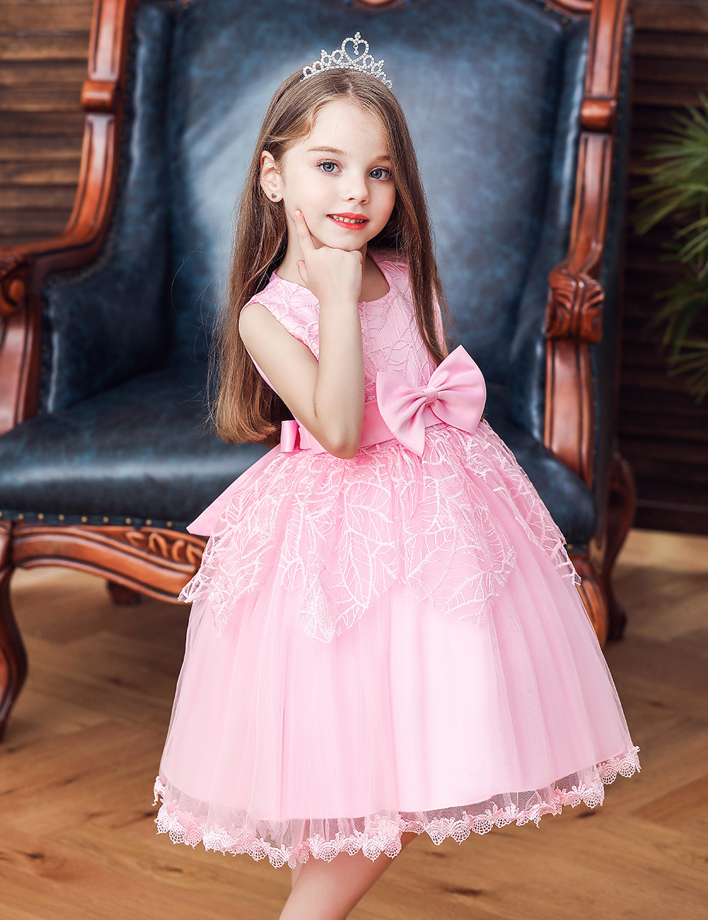 Hot Models CHILDREN'S Full Dress Girls Bow Dress Children Princess Skirt