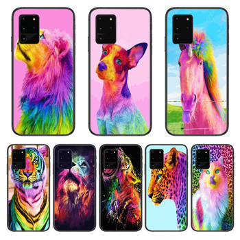 Shockproof Animal Colour Phone cover hull For SamSung Galaxy S 6 7 8 9 10 20 Plus Edge E 5G Lite Ultra black soft bumper image