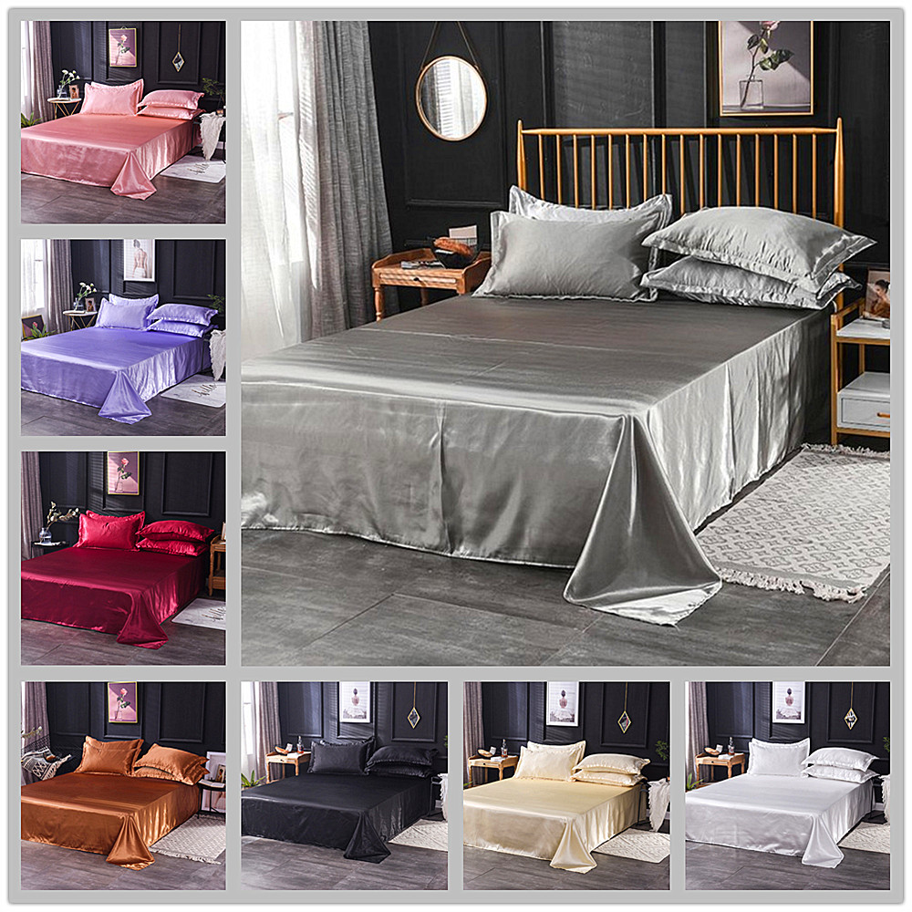 Wholesale Luxury 100% Satin Silk White 1PCS Flat Sheet Silky Queen King Bed Sheets For Women Men