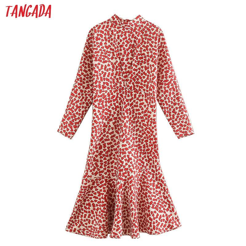 Tangada Fashion Women Heart Print Dress 2020 Spring Long Sleeve Ladies Tunic Midi Dress Vestidos XN325