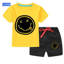 Boys Summer Clothes Set Fashion 2020 Casual Baby Boy Girl Toddler Suits Kurt T-shirt 2PCS Funny Hip Hop