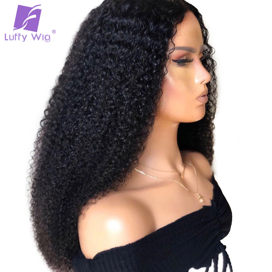 180% Density 13x6 Lace Front Human Hair Kinky Curly Wig With Baby Hair Pre Plucked Brazilian Remy Hair Wigs LUFFY