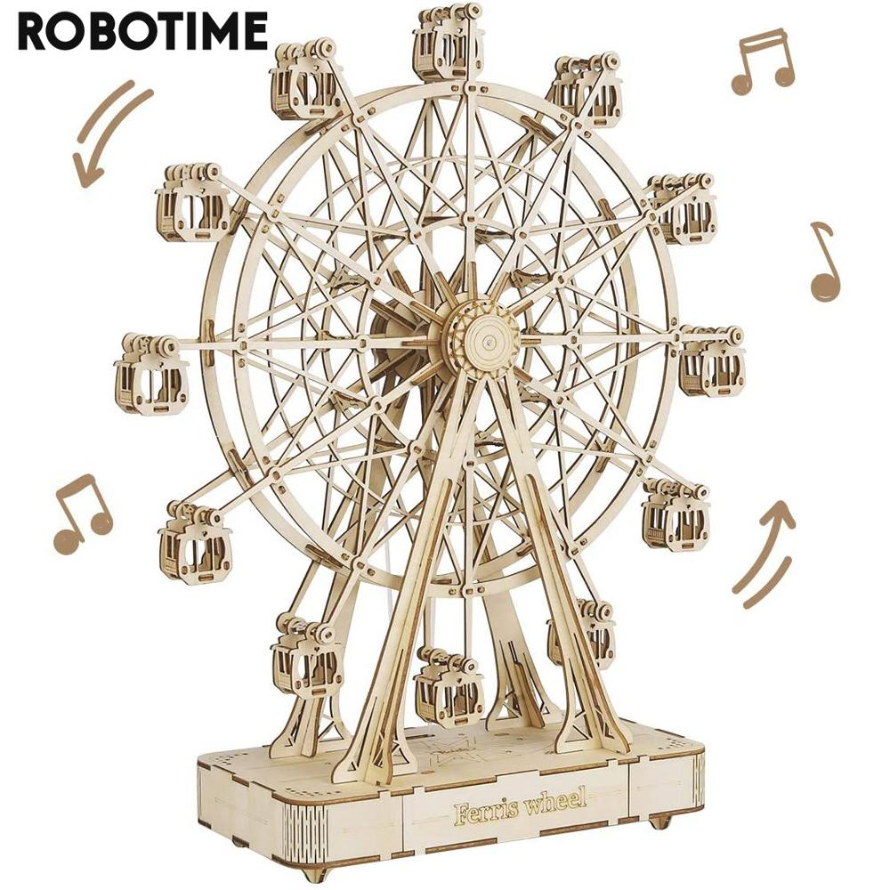 Assembly-Toy Building-Block-Kits Wooden Model Ferris-Wheel Gift Robotime DIY Adult Children