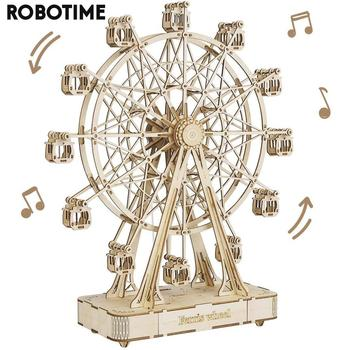 Robotime 232pcs Rotatable DIY 3D Ferris Wheel Wooden Model Building Block Kits Assembly Toy Gift for Children Adult TGN01