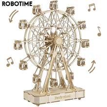 Robotime 232 adet dönebilen DIY 3D dönme dolap AHŞAP Model yapı taşı kitleri montaj oyuncak hediye çocuklar için yetişkin TGN01