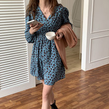Vintage Shredded Flower V-neck Long-sleeved Dress Women's 2021 Spring Korean Loose Dress Vestidos Largos De Verano Para Mujer