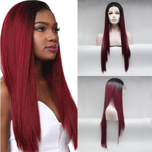 13x4 Ombre Lace Front Wig Two Tone Synthetic Free Part Long Silk Straight Cosplay Wigs Heat Resistant Fiber Hair for Black Women стоимость