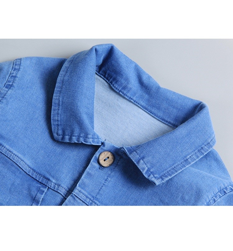 2020 Baby Boys Long Sleeve Lapel Collar Denim Jeans Cartoon Rompers Infant Girls Casual Jumpsuits Kids Clothes