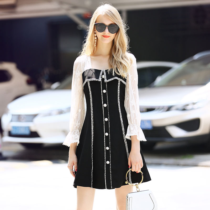 2019 Korean Style WOmen Elegant See Through lace Patchwork Strapless Dress Casual Long Sleeve A line Black Dress Women Clothing image