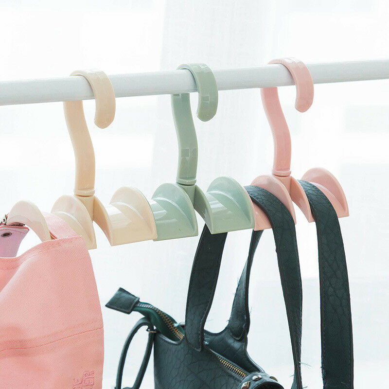 360 Angle Rotation Closet Organizer Rod Hanger Handbag Storage Purse Hanging Rack Holder Hook Bag Clothing Hanger