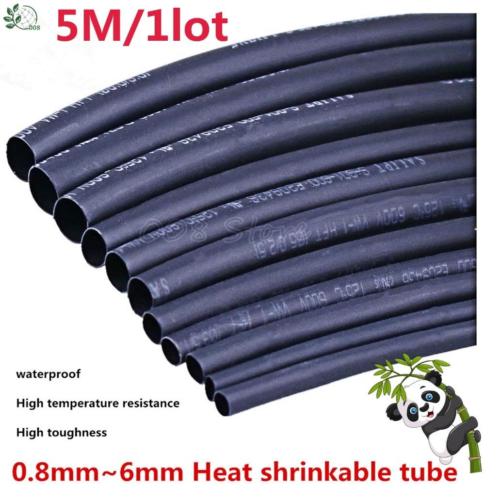 5 METER/LOT BLACK 1mm 1.5mm 2mm 2.5mm 3mm 3.5mm 4mm 5mm 6mm Heat Shrink Tubing Tube