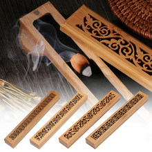 1PC Retro Natural Wooden Carving Flower Incense Censer Joss-stick Inserted Holder Ash Catcher Aromatherapy Home Decor Crafts(China)