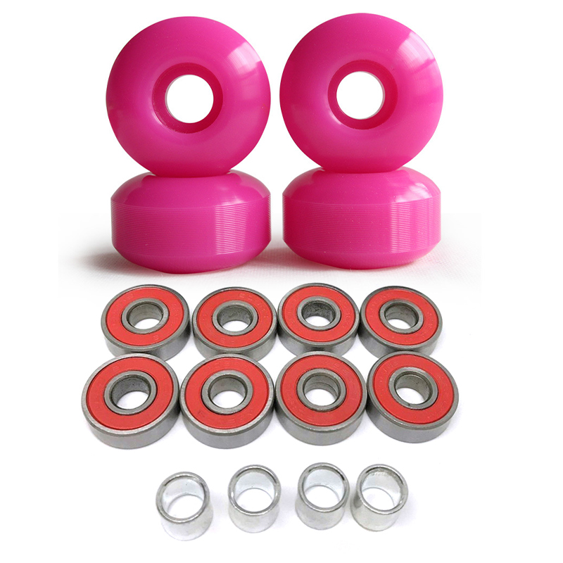 1Set 4 Wheels Blank 52mm Skateboard Wheels 101A +8pcs ABEC9 Bearings+4pcs Spacers Parts Universal Size