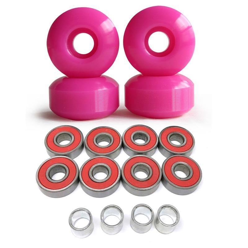 1Set 4 Wheels Blank 52mm Skateboard Wheels 101A +8pcs ABEC9 Bearings+4pcs Spacers Parts Universal Size