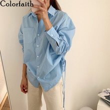 Drawstring-Buttons Blouses Shirts Office-Tops Oversize Colorfaith Summer Pockets Vintage