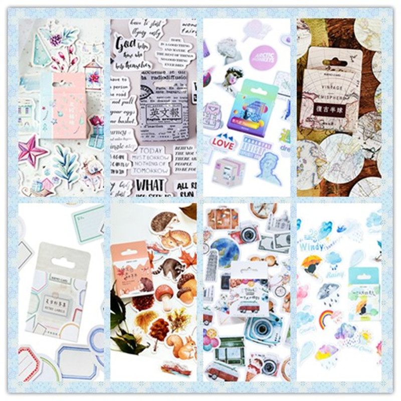 46pcs/pack Planner Scrapbooking Bullet Journal Stationery Japanese Diary Aesthetic Korean Travel Stickers Eight Selections