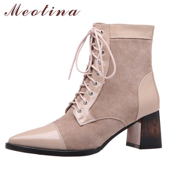 Meotina Women Ankle Boots Shoes Real Leather High Heel Short Boots Pointed Toe Block Heels Zip Lace Up Ladies Boots Apricot 40 ms noki bling women ankle boots thin heel lace up high heel pointed toe supper quality woman new fashion shoes