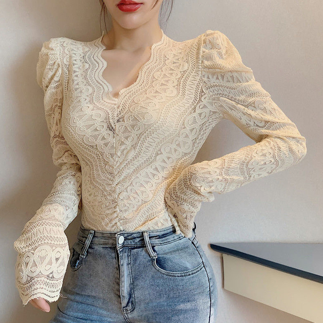 Blouses Women Elegant V Neck Slim Hollow Out Lace Blouses Autumn All-match Vintage Full Puff Sleeve Elastic Shirts Tops 6