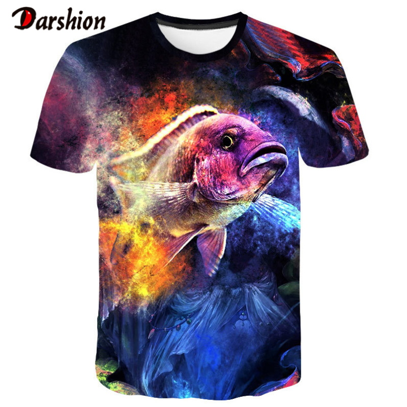 New Fishing Tshirt Style Casual Digital Fish 3D Print Tshirt Men Tshirt Summer Short Sleeve O-neck Top Tees Hip Hop Print Tshirt