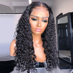 Cexxy Hair Malaysian Water Wave Wigs 4*4 Lace Closure Wigs 150% Density Remy Curly Human Hair Wig For Women Full Lace Front Wig